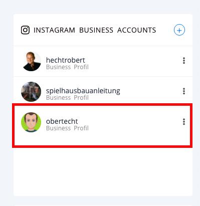 Der Instagram Account ist jetzt verbunden