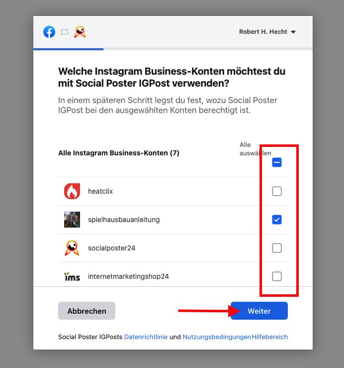 Instagram Business Account auswählen
