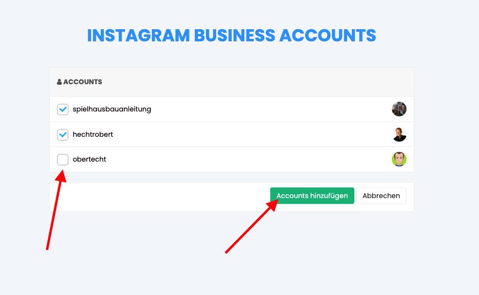 Instagram Account auswählen1