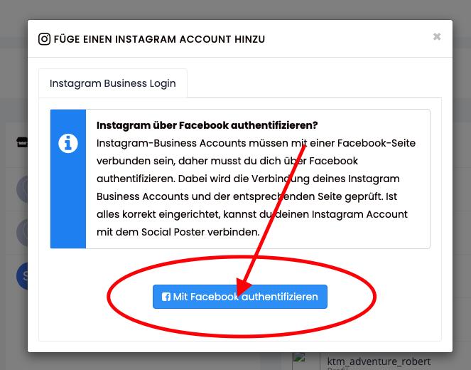 Instagram Business Account mit Facebook Seite authentifizieren